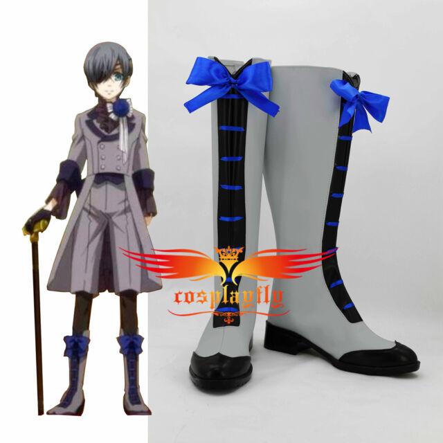 Black Butler 3 Ciel Phantomhive Grey Suit Cosplay Boots Custom Made