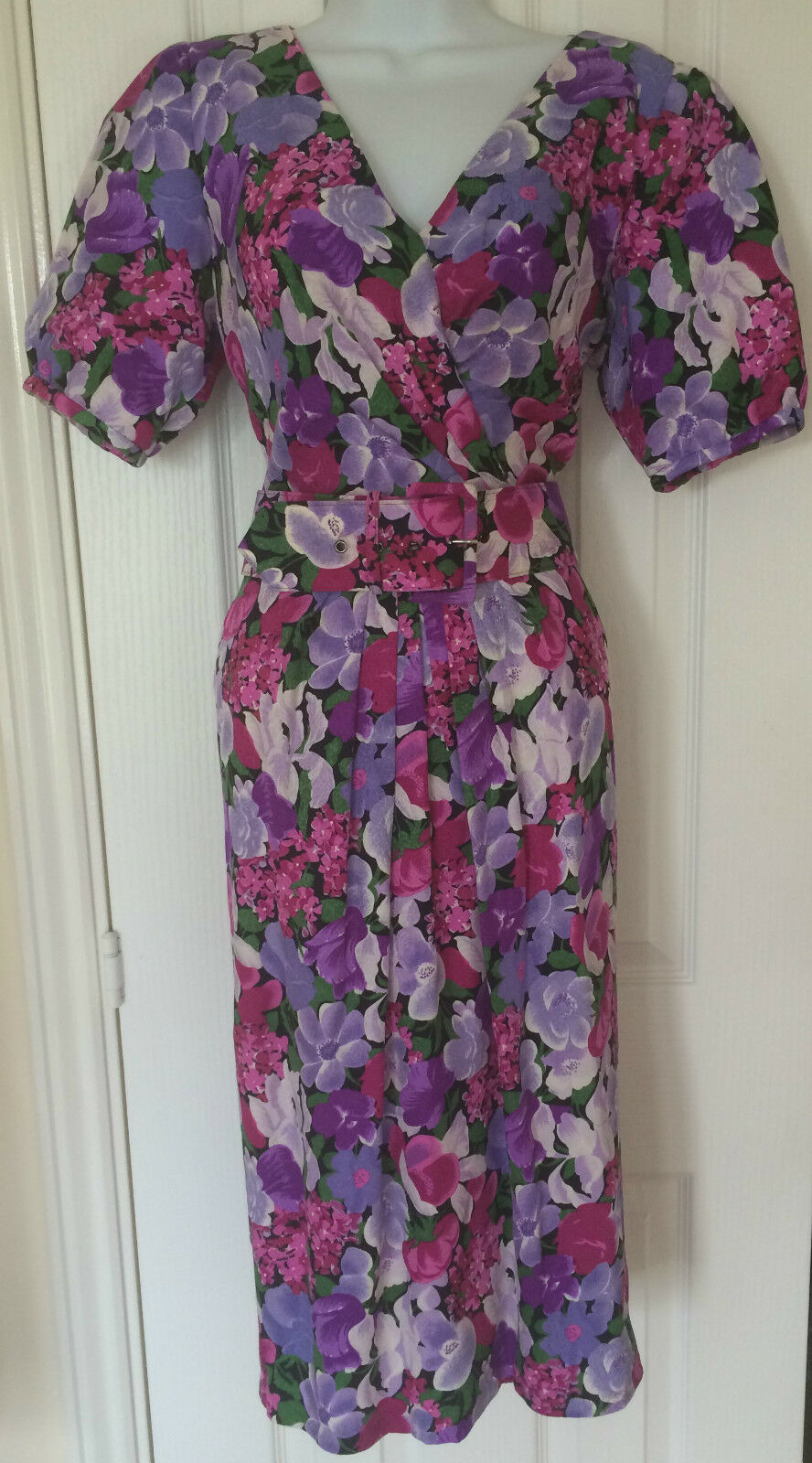 St. Gillian Silk Dress Purples Pinks Belted Wedding MOB Formal Size 8 10