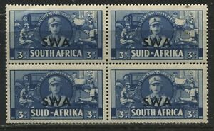 South-West-Africa-1941-3d-overprinted-block-of-4-mint-o-g