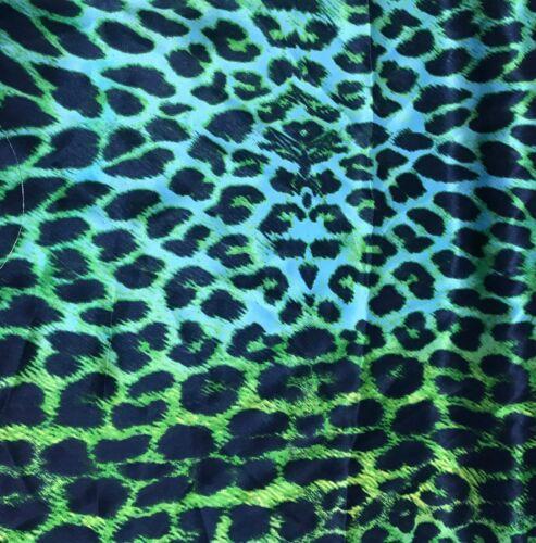 Green Leopard Spots Silk Charmeuse Fabric
