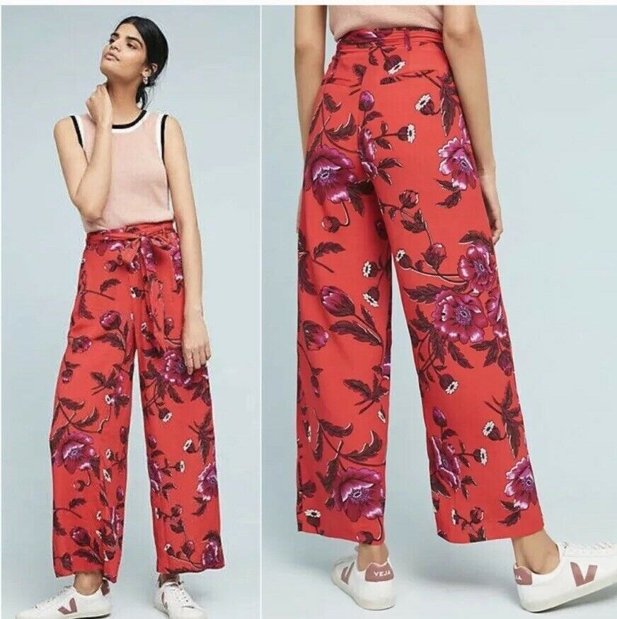 Anthropologie  MARGO WIDE-LEG TROUSERS size 12 new nwt red