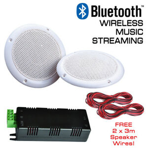Details About Wireless Bluetooth Ceiling Speakers Water Resistant Stereo Kit 30 Watts