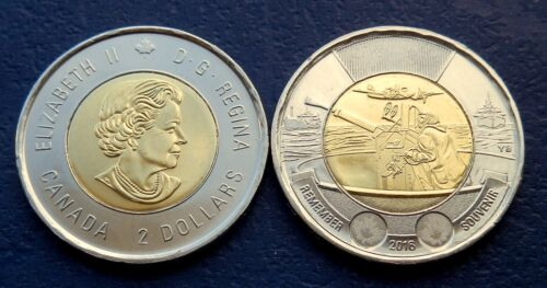 2016 CANADA BATTLE of The ATLANTIC 2$ Remembrance Toonie UNC