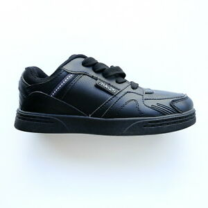 BOYS BLACK TRAINERS SHOES LACE UP BY