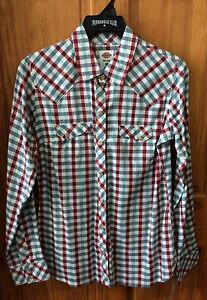 DICKIES-Women-039-s-Red-White-Blue-Long-Sleeve-Plaid-Snap-Front-Work-Shirt-FL051PNR