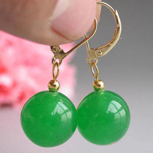 EN PROMOTION New Fashion Pretty 10 mm Vert Jade Perles rondes 18KGP Leverback Boucles D/'oreilles