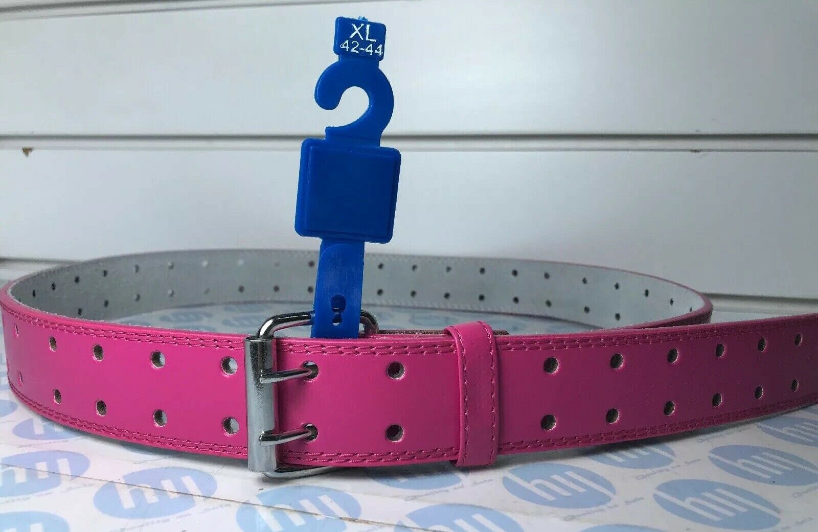 """Genuine Pink leather belt two hole Strong Lock XL 42""""-44"""" 124cm Long"""