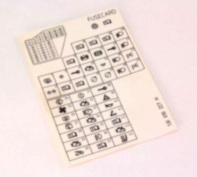 Fuse Diagram Key Card 99-05 VW Jetta Golf MK4 - Genuine ...
