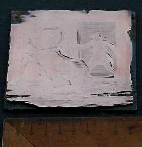 2-MANNER-mit-PERD-Galvano-Druckstock-Kupferklischee-Druckplatte-copper-printing