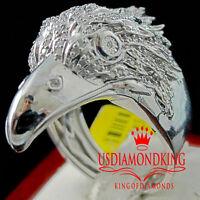 Real Diamond Mens American Eagle Falcon Bird White Gold Finish Ring Pinky Band
