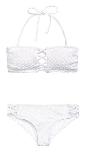 NEU H/&M Bikini Set Bandeau abnehmbare Neckholder bunt Blumen weiß GR 34 36 38 40