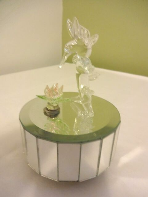 Vintage Linden N Glass Hummingbird Mirror Box Pink Flower Plays