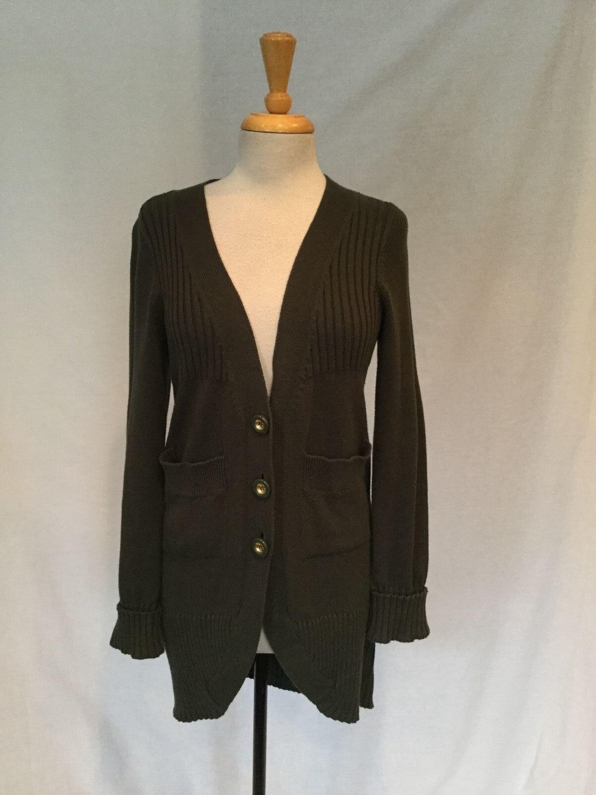 Leifsdottir - Women's Dark Green Cotton & Cashmere  Cardigan - Size Medium