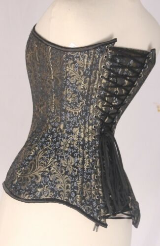 Gold Brocade Real Steel Bones Lace Up Back Steel Busk Over bust Corset 2XS~7XL