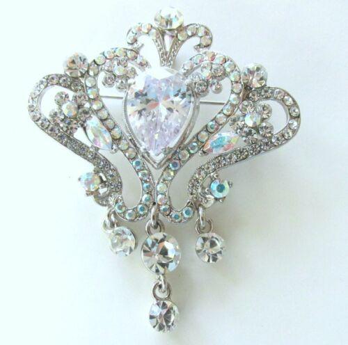 AB pin brooch frog pin vtg jewelry Vtg silvertone frog animal jewelry rhinestone jewelry Aurora Borealis Jewelry Aurora Borealis pin