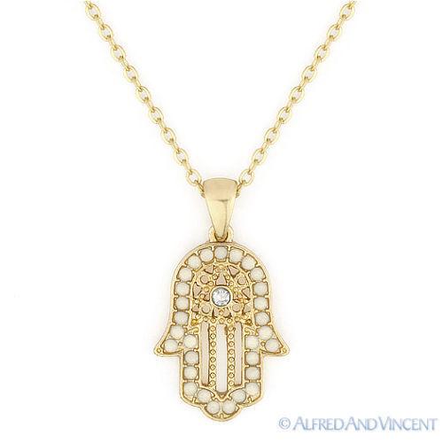 Hamsa Hand of God Fatima Evil Eye Charm Pendant Jewish Judaica Kabbalah Necklace