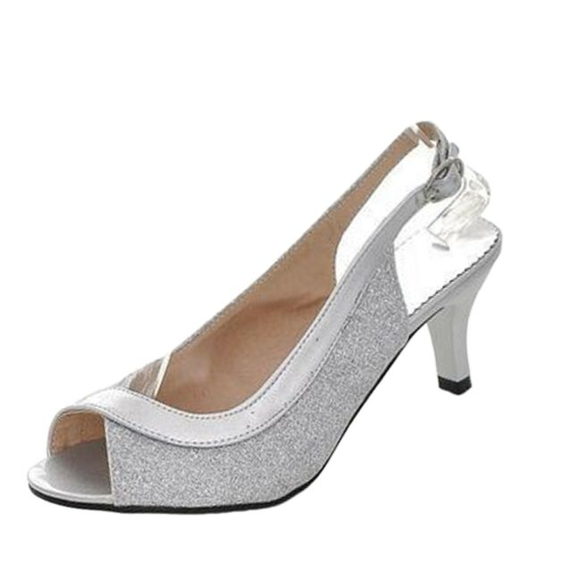 8c66290bac6 Ladies Vintage High HEELS Womens Prom Shoes PEEP Toe Sandals Size 6 7 8 9  10 Silver UK 1 ( Size Tag CN 33)