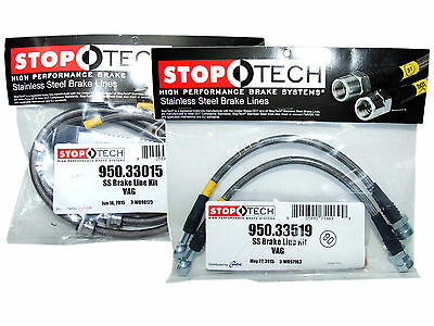 Front /& Rear Set // 33015+33521 Stoptech Stainless Steel Braided Brake Lines