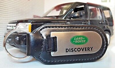 Land Rover Defender Range Discovery Quality Alloy /& Black Leather Key Anello Fob