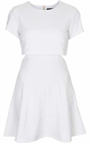 *New* Topshop White Sparkle Textured Cutout Dress UK Size 8