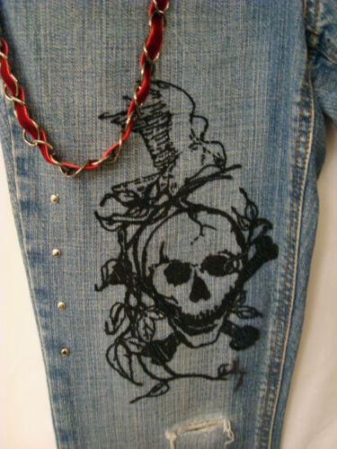 Lis monnaie de Skull Jeans patchs plus chaîne clous et Fleur cuir porte Rock De BBITvqZw