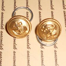 Knöpfe Marine Metall golden 16mm mit Anker glänzend incl. Ring ##1116