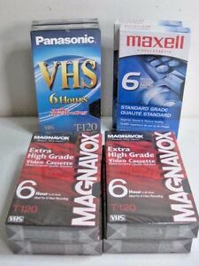 Blank VHS Tapes Lot of 8 New Maxell Panasonic Magnavox T-120 6 Hour