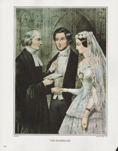"""1972 Vintage Currier /& Ives /""""THE MARRIAGE/"""" Color Print Lithograph"""