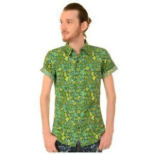 AgréAble Vert Cactus Imprimé Chemise En Run And Fly Rétro Tropical Summer Xxl Bnwt/neuf-afficher Le Titre D'origine