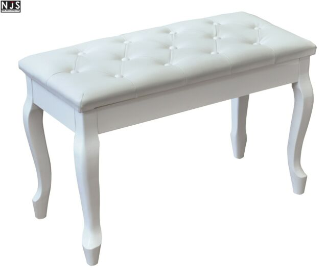 NJS Luxury Fixed Height White Faux Leather Piano Stool Bench with Storage
