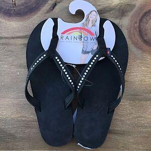 e1d014115ea5 La foto se está cargando Mujeres-Sandalias-del-arco-iris-negro-de-cuero-