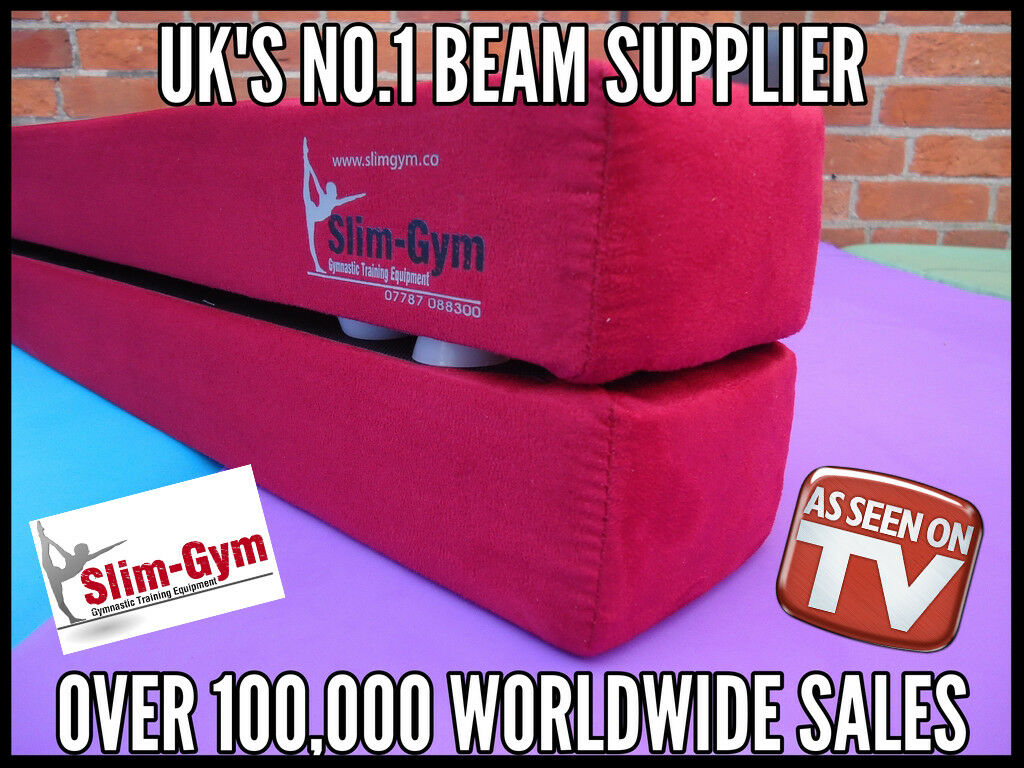 8FT (2.4 MTR) GYMNASTIC FOLDING BALANCE BEAM BY SLIM-GYM 'RED' FAUX SUEDE