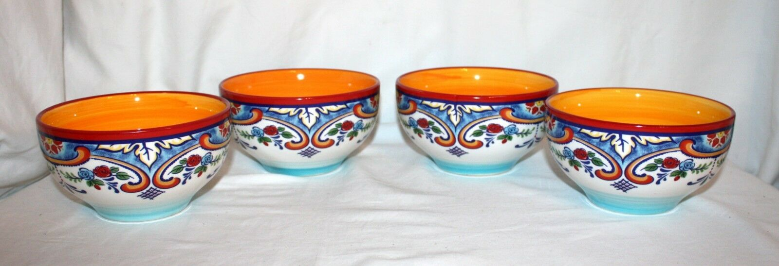 Euro Ceramica ZANZIBAR Soup Cereal Bowls Set Of 4 Pc Multi-color Floral