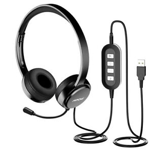 Mpow 071 USB Headset 35mm Computer With Microphone Noise Cancelling PC