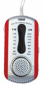 Naxa AM FM Compact Portable Radio Red & Earbuds and Speaker