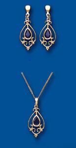 Saphir-Ohrringe-und-Anhaenger-Set-festgelbgold-gekennzeichnet
