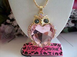 BETSEY-JOHNSON-LOVELY-PINK-CRYSTAL-amp-RHINESTONE-OWL-PENDANT-NECKLACE
