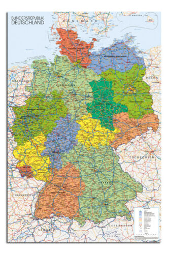 Germany Map Wall Chart 24 x 36 Inch Poster New Laminated Available