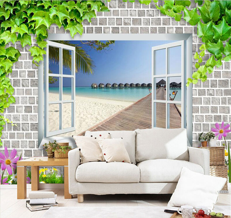 3D Beach Outdoor Natural sky Wall Paper Print Decal Wall Deco Indoor wall Mural