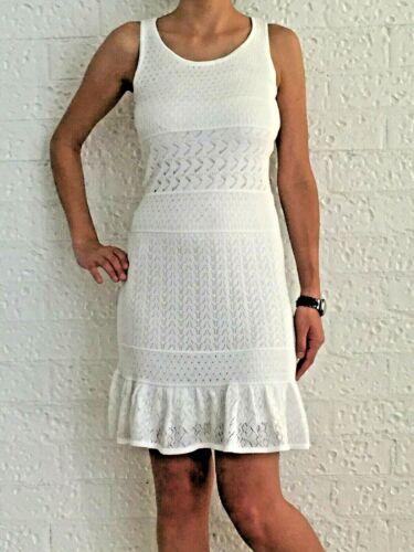 Women/'s White Bohemian Sleeveless Crochet Racerback Midi Dress Size 6-8-10-12-14