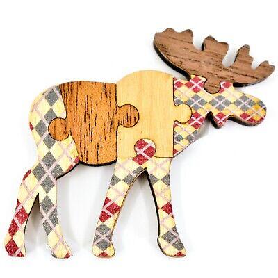 Northwoods Wood Cutout Moose Jigsaw Puzzle Design Magnet