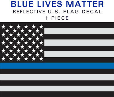 Reflective Thin Blue Line Blue Lives Matter 1 Pc Decal Sticker Ebay