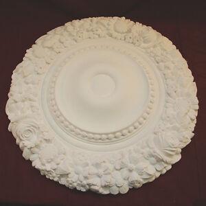 Ceiling Rose Flower and Beaded 540mm Fine Plaster