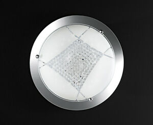 Plafoniere In Cristallo : Plafoniera rotonda grande in vetro con cristalli a led
