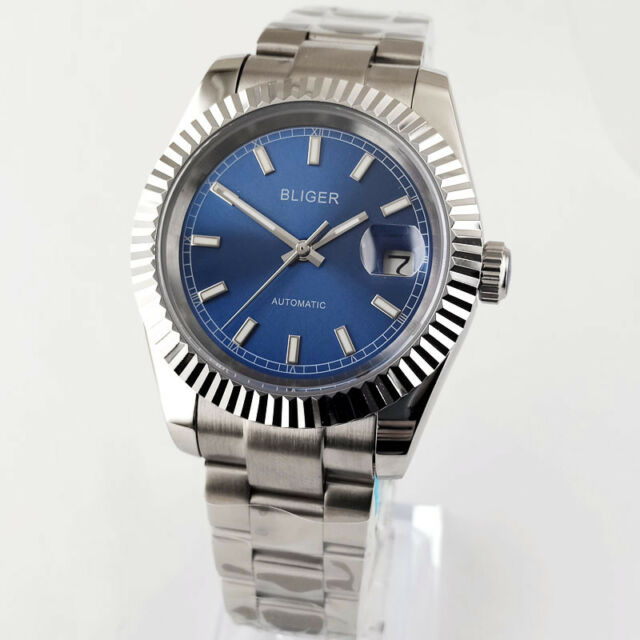 40MM BLIGER blue Face Dial Men's steel Watch Automatic Movement 2855