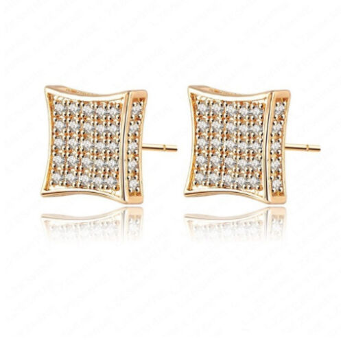 Deluxe Micro-Pave Square LAB 925 Silver Sterling HipHop Gold Tone Stud Earring