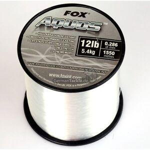 Angelschnur-Fox-Aquos-Clear-Carp-Line-12lbs-5-4-KG-0-286-mm-1550-m-Karpfen