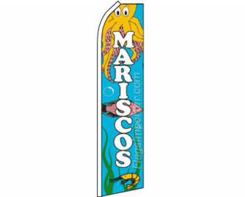 Mariscos Seafood Blue Swooper Super Feather Advertising Flag