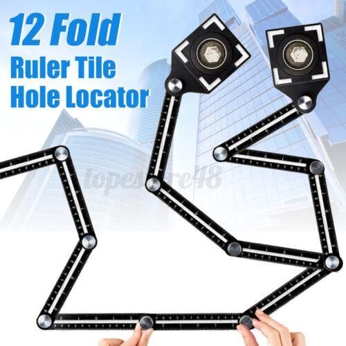 Pair 12 Folding Tile Hole Locator Adjustable Multi-Angle Ruler Measuring Tool L