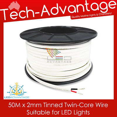 BOAT//CARAVAN 50m X 2mm 7A MARINE TINNED TWO CORE LED LIGHTS ELECTRICAL CABLE